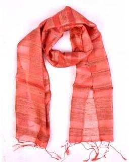 Šátek z hrubého hedvábí, losově růžový, třásně, 35x180cm