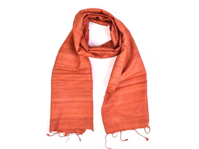 Šátek z hrubého hedvábí, červeno oranžová, třásně, 35x180cm