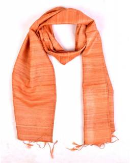 Šátek z hrubého hedvábí, světle oranžový, třásně, 35x180cm