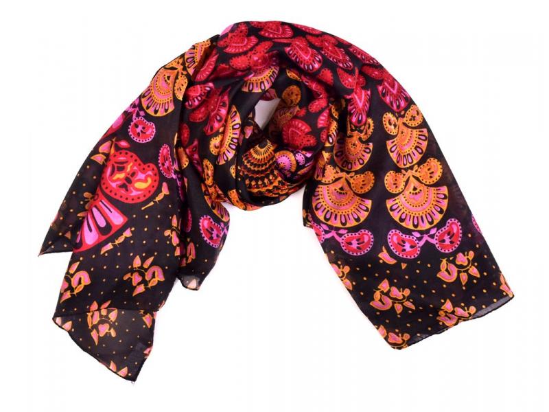 Šátek z hedvábí, čtverec, mandala potisk, černo-řůžový 100x100cm