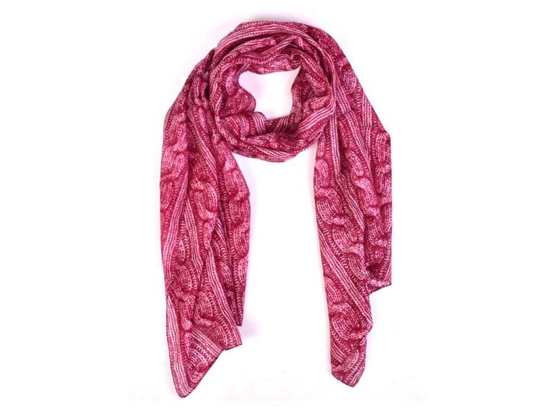 Hedvábný šál, pletený potisk, tmavě růžový, 180x50cm