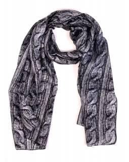 Hedvábný šál, pletený potisk, černo-šedivý, 180x50cm