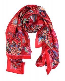 Hedvábný šátek paisley a květiny potisk, červeno-barevný, 170x100cm