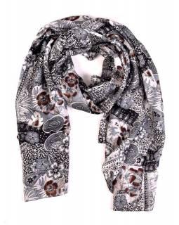 Hedvábný šátek, květiny potisk, šedivo-černý, 170x100cm