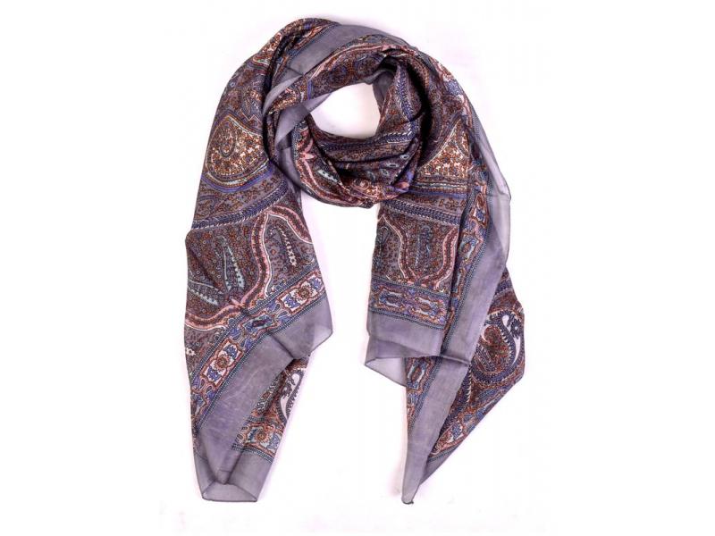 Hedvábný šátek paisley potisk, šedivý, 170x100cm