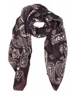 Hedvábný šátek paisley potisk, tmavě hnědý, 170x100cm