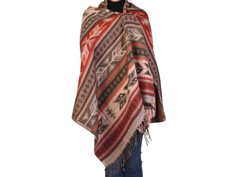 Velký zimní šál s geometrickým vzorem, béžovo-červená, 205x90cm