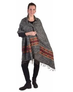 Velký zimní šál s geometrickým vzorem, černý, 205x90cm