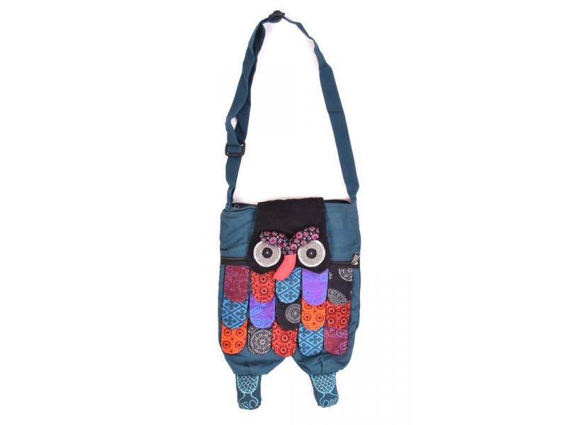 """Patchworková bavlněná taška přes rameno """"sova"""" modrá, se zipem, 45x30 cm"""