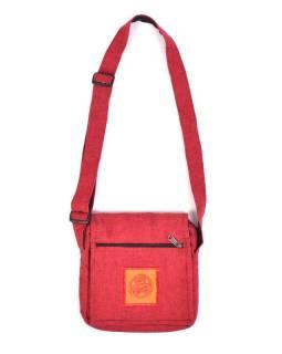 Taška přes rameno, červená, bavlna, 20x20cm, nastavitelný popruh