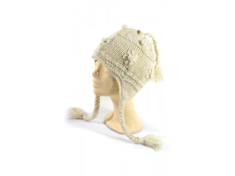 Čepice s ušima, bílá, ruční práce, vlna, podšívka