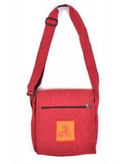 Taška přes rameno, červená, bavlna, 25x25cm, nastavitelný popruh