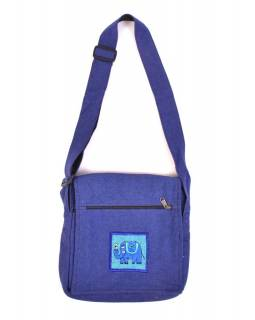 Taška přes rameno, modrá, bavlna, 25x25cm, nastavitelný popruh