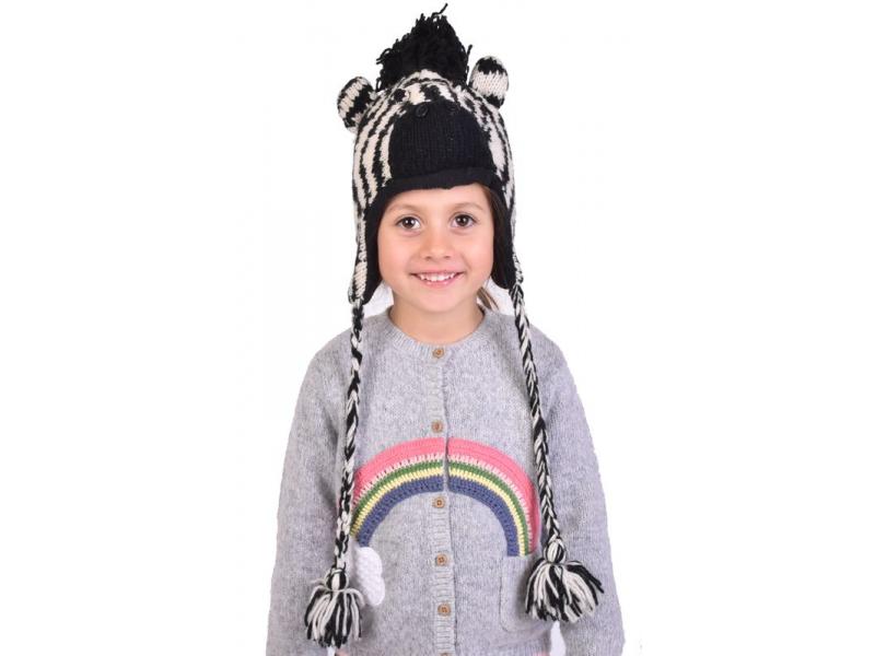 Čepice s ušima, dětská, zebra, černo-bílá