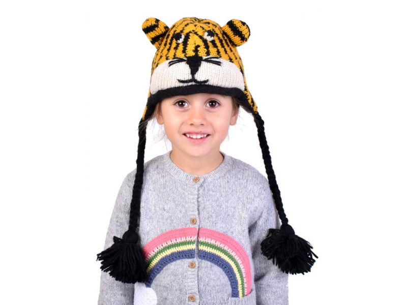 Čepice s ušima, dětská, tygr, žluto-černá