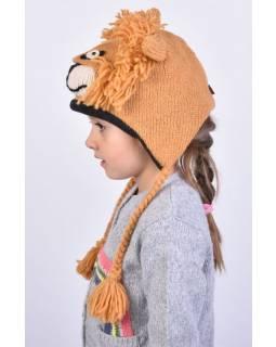 Čepice s ušima, dětská, lev, světle hnědá