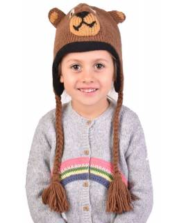 Čepice s ušima, dětská, medvěd, hnědá