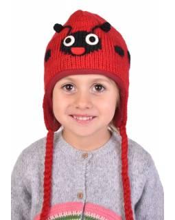 Čepice s ušima, dětská, beruška, červeno-černá