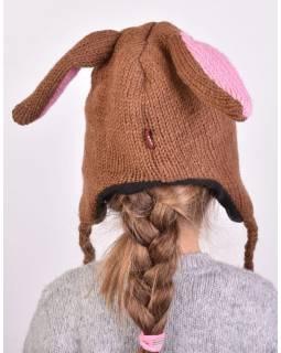 Čepice s ušima, dětská, zajíc, hnědá