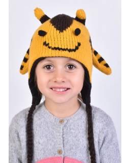 Čepice s ušima, dětská, včelka, žluto-hnědá