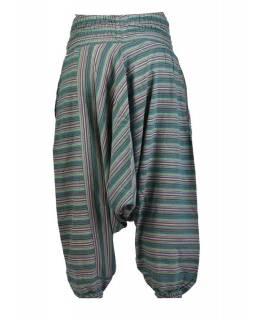 Turecké kalhoty, zelené, pruhované, žabičkování v pase