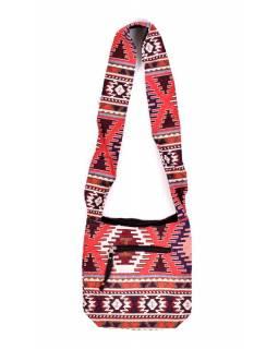 Taška přes rameno, barevná, malá, Aztec design, zip 27x28 cm