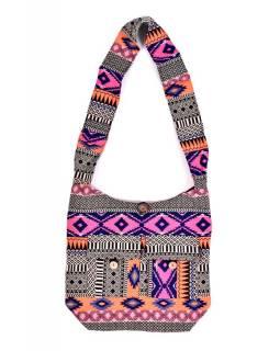 Taška přes rameno, barevná, velká, Aztec design, 2 přední kapsy, zip, 40x36 cm