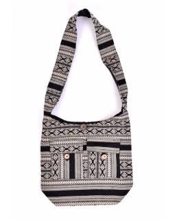 Taška přes rameno, černobílá, velká, Aztec design, 2 přední kapsy, zip, 40x36 cm
