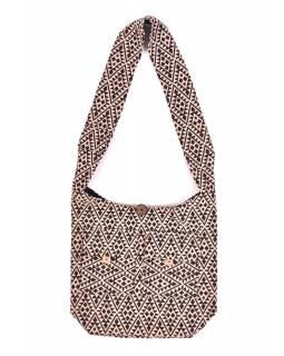 Taška přes rameno, hnědo-béžová, velká, Aztec design, 2 přední kapsy, zip, 40x36