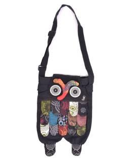 """Patchworková bavlněná taška přes rameno """"sova"""" černá, se zipem, 45x30 cm"""