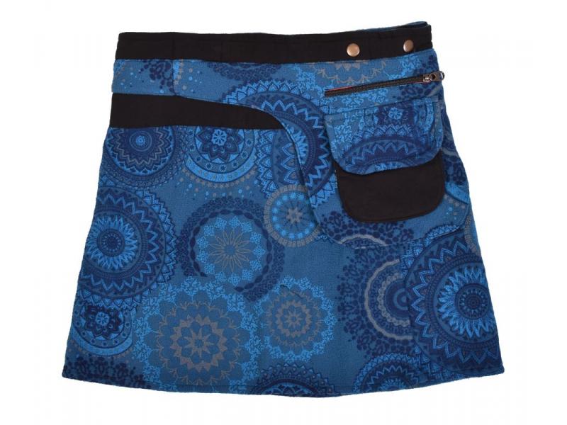 Krátká fleecová sukně zapínaná na patentky, Mandala design, modrá, kapsička