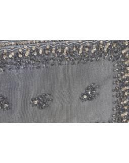 Ručně vyšívaná šperkovnice, šedá s korálky a flitry,25,5x17x8cm