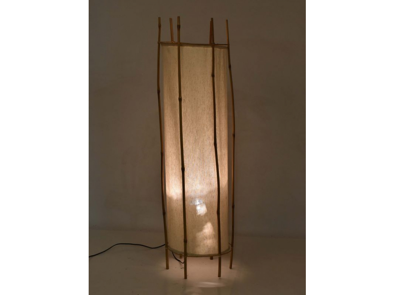 Stojací lampa/stinidlo z bambusu a látky, 30x30x100cm
