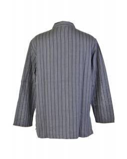Pruhovaná pánská košile-kurta s dlouhým rukávema kapsičkou, černo šedá