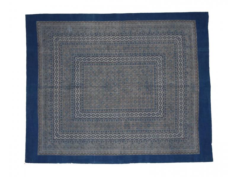 Přehoz na postel, modrý,  blockprint, ruční práce, 240x280cm
