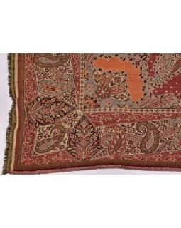 Přehoz na postel, s motivem paisley, s třásněmi, hnědo-vínový, 218x263cm