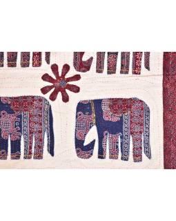 Patchworkový přehoz na postel, prošívaný se slony, 220x270cm