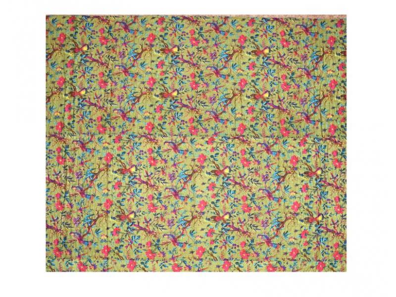 Přehoz na postel, zelený, prošívaný, potisk ptáků a květin, ruční práce, 220x270