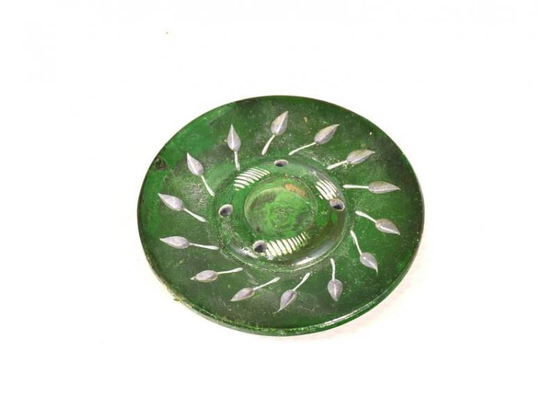 Kamenný ručně vyřezávaný stojánek na vonné tyčinky, zelený, 5cm