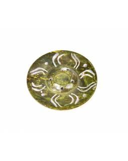 Kamenný ručně vyřezávaný stojánek na vonné tyčinky, žluto zelený, 5cm