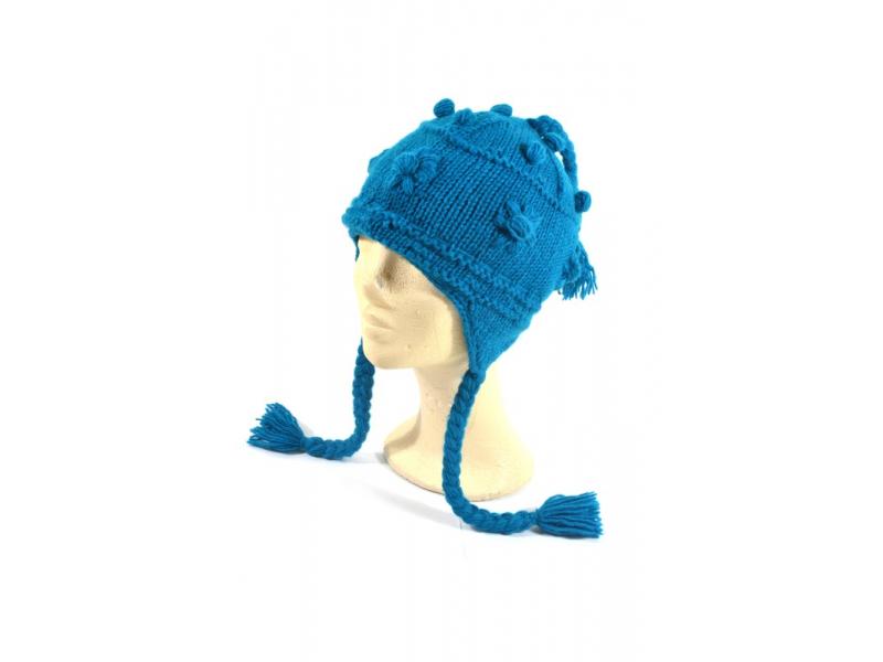 Čepice s ušima, tyrkysová, ruční práce, vlna, podšívka