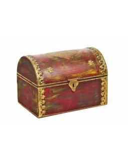 Dřevěná krabička s mosazným kováním, červená, 25x16x18cm