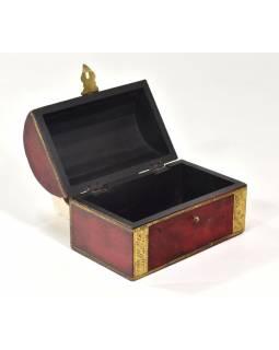 Dřevěná krabička s mosazným kováním, červená, 20x12x13cm