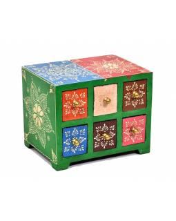 Ručně malovaná dřevěná skříňka se šesti šuplíky, 19x14x14cm