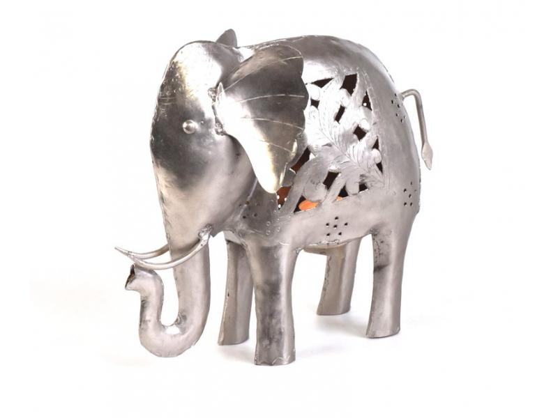 Kovový ručně tepaný svícen ve tvaru slona, 30x11x25cm