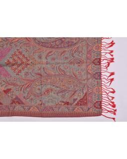 Velká šála s motivem paisley, s třásněmi, červená, 68x180cm