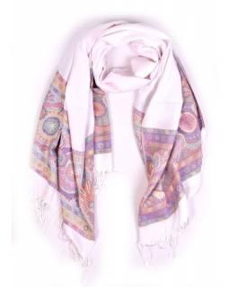 Velká šála s motivem paisley, s třásněmi, bílá, 68x180cm
