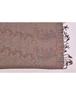 Velká šála s motivem paisley, s třásněmi, hnědá, 68x180cm