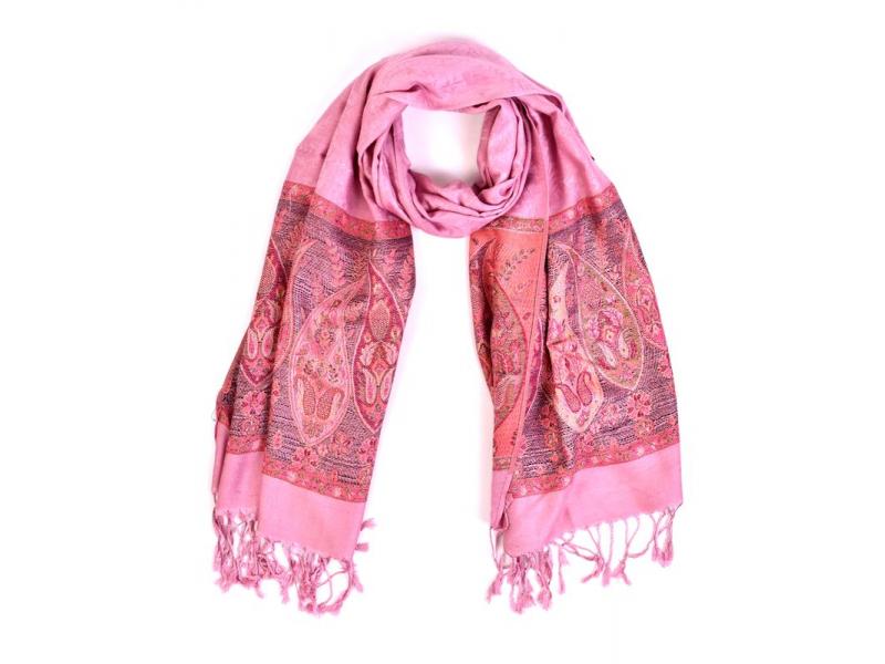 Velká šála s motivem paisley, s třásněmi, světle růžová, 68x180cm