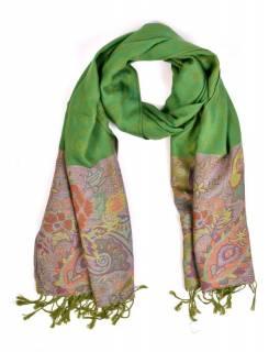 Velká šála s motivem paisley, s třásněmi, zelená, 68x180cm